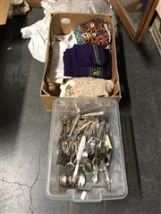 Sale 8819 - Lot 2311 - Box of Cutlery & Fabrics
