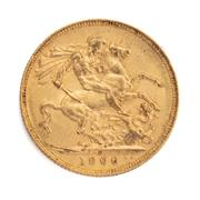 Sale 8855H - Lot 48 - 1900 gold sovereign weight approx 7.95g, P above 1900
