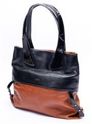 Sale 8921 - Lot 56 - A BALLY SWITZERLAND BLACK AND BROWN LEATHER TOTE BAG; in chocolate and black leather with black patent leather handles, size 36 x 34...