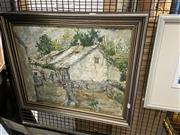 Sale 8927 - Lot 2051 - Artist Unknown - Cottage Backyard Scene, oil on canvas, 53 x 63 cm, Artist Monogram lower left