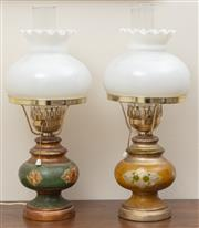 Sale 8926K - Lot 7 - A pair of ceramic lamps with Florentine decoration, one of the shades is broken, H 48cm