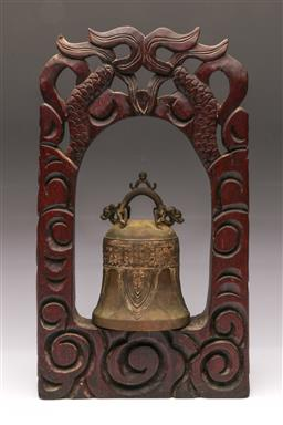 Sale 9107 - Lot 43 - A Chinese Bell and Stand (H 45cm, repairs needed)