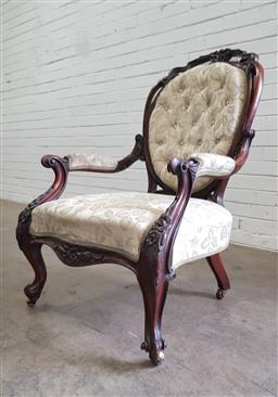 Sale 9108 - Lot 1018 - Victorian Carved Walnut Gentlemans Armchair -