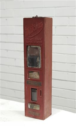 Sale 9134 - Lot 1032 - Vintage wall mount metal matches dispenser (h:56 w:13 d:10cm)