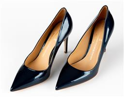 Sale 9250F - Lot 66 - A pair of Versace 19.69 Abbigliamento Sportivo S.R.L, patent blue heels, size 38.