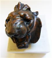 Sale 8312A - Lot 59 - An antique French bronzed metal leopard head inkwell on marble base, overall height 13 cm