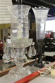 Sale 8340 - Lot 11 - Crystal Lustre Storm Lantern & an Etched Trumpet Epergne (AF)