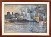 Sale 8401 - Lot 505 - Bruce Cassels Lawrence (1932 - 2010) - Untitled, 1986 (Sydney Cityscape) 59 x 89cm