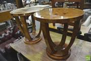 Sale 8418 - Lot 1032 - Pair of Burr Walnut Art Deco Style Wine Tables