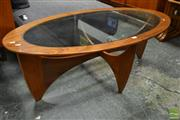 Sale 8511 - Lot 1036 - Oval G-Plan Atmos Coffee Table with Glass Top
