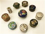 Sale 8436A - Lot 1 - A group of ten cloisonné pill boxes of various geometric shapes.