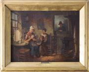 Sale 8435A - Lot 71 - C Terlouw, C19th Dutch School - Domestic Interior Screen 45 x 55cm