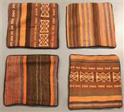Sale 8438K - Lot 95 - Four Tribal Kilim Cushion Covers | 40x40cm, Pure Wool, Cotton Backing, Unique Afghan Kilim cushion, Made from vintage Kilims, many o...