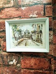 Sale 8500A - Lot 39 - A petite vintage Notre Dame scenic wall print - 19cm wide x 14cm high