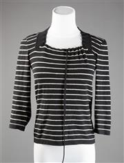 Sale 8499A - Lot 75 - A Max Mara Weekend woollen jumper with black and white horizontal stripes and a square drawstring neck. Size: S.