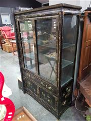 Sale 8580 - Lot 1012 - Oriental Display Cabinet with Inlaid Framework (172.5 x 101 x 41cm)
