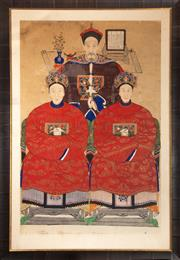 Sale 8625A - Lot 82 - An unusual group ancestor portrait with three elders, in simulated bamboo frame, total frame size 178 x 123cm.
