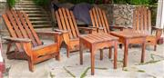 Sale 8677A - Lot 45 - Four matching adjustable timber deck chairs with two matching square tables (plus cushions)