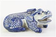 Sale 8815C - Lot 58 - Unusual Chinese Blue and White Porcelain Figure of a Mythical Beast, L 23cm