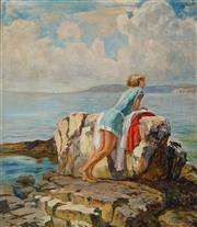 Sale 8938A - Lot 5053 - Artist Unknown (C20th) - Bather by the rocks 82 x 70.5 cm (frame: 91 x 80 x 4 cm)
