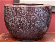 Sale 8625A - Lot 83 - A mottled glaze oversized ceramic jardinière, H 32 x D 44cm.