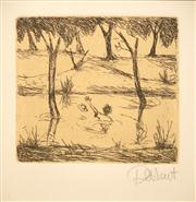 Sale 8642A - Lot 5023 - Kevin Charles (Pro) Hart (1928 - 2006) - Drowning himself by the Coolibah Tree... 12.5 x 14.5cm (frame: 62.5 x 52.5cm)