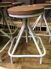 Sale 8648 - Lot 1029 - Set of Four Timber Top Stools on White Square Base