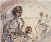 Sale 8722 - Lot 542 - Elizabeth Durack (1915 - 2000) - Aboriginal Family, c1947 - 50 56 x 68.5cm