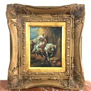 Sale 8795K - Lot 53 - Oil on wood in ornate frame