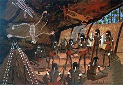 Sale 9091A - Lot 5032 - Dick Roughsey (1924 - 1985) - Return of the Hunting Party - Cape York 45.5 x 63 cm