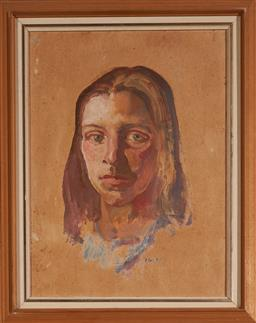 Sale 9113 - Lot 2005 - Arthur Murch portrait, oil on card on board (AF), frame: 49 x 39 cm, signed lower right -