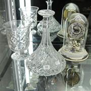 Sale 8336 - Lot 84 - Dome Clock with Crystal Wares incl. Ships Decanter
