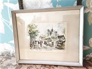 Sale 8500A - Lot 41 - A vintage French Notre Dame scenic wall print - 27cm wide x 22cm high