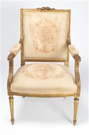 Sale 8518A - Lot 15 - An antique French giltwood neo-classic bergere armchair C: 1880. The rose carved back rail on carved uprights to acanthus carved arm..