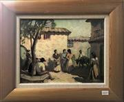 Sale 8563T - Lot 2039 - Raymond Wenban - Spanish Town Scene, oil on board, 29 x 36cm, signed lower right