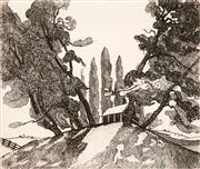 Sale 8592A - Lot 5037 - Adrian Feint (1894 - 1971) - The Three Pines 14 x 12cm; 44.5 x 34.5cm (sheet size)
