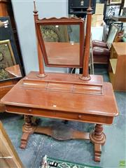 Sale 8598 - Lot 1041 - 19th Century Cedar Dressing Table, with turned posts, on a raised platform with three trinket drawers & two longer below, on turned...