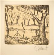 Sale 8642A - Lot 5021 - Kevin Charles (Pro) Hart (1928 - 2006) - Oh there once was a swagman camped in the billabongs... 12.5 x 14.5cm (frame: 62.5 x 52.5...