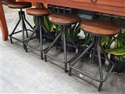 Sale 8669 - Lot 1025 - Set of Four Timber Top Stools on Black Square Base