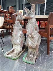 Sale 8661 - Lot 1084 - Pair of Concrete Kangaroo Garden Statues