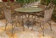 Sale 8677A - Lot 47 - Five piece glass topped table and four chairs, diameter of table 122cm