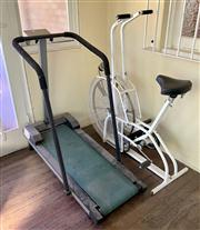Sale 8804A - Lot 181 - An old-fashioned manual treadmill together with a Bronicbike air bike