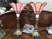 Sale 8805 - Lot 1066 - Pair of Pink Leadlight Lamps