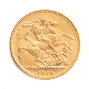 Sale 8855H - Lot 65 - 1914 gold sovereign weight approx 7.95g, M above 1914