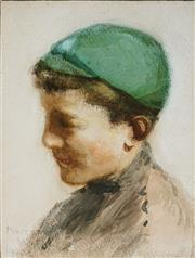 Sale 8953 - Lot 2007 - Margery Withers (1874 - 1966) - Portait of a School Boy, 1920 21 x 15 cm (frame: 44 x 36 x 2 cm)