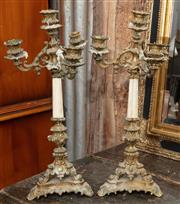 Sale 9060H - Lot 20 - A pair of French decorative gilt three branch metal Candelabra h 46CM