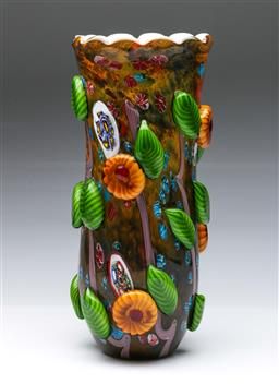 Sale 9093 - Lot 58 - Millefiori Decorated Art Glass Vase (H35cm)