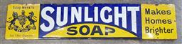 Sale 9134 - Lot 1039 - Vintage enamel Sunlight Soap sign (h:21 x w:92cm)