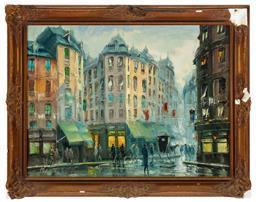 Sale 9190H - Lot 31 - Emilio Payes,(b. 1935, Spanish)  Parisian street scene, c.1930, oil on canvas, SLL, 58cm x 78cm in gilt frame, damaged frame