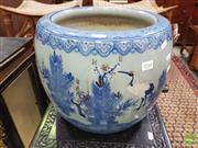 Sale 8416 - Lot 1044 - Large Japanese Blue & White Jardiniere, in blue tones depicting cranes
